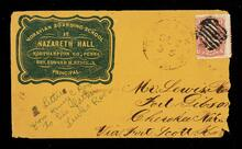 Envelope addressed to Mr. Lewis Ross, Fort Gibson, Cherokee Nation, from Henry C. Ross, Moravian Boarding School at Nazareth Hall, Northampton County, Pennsylvania