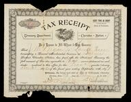 Tax receipt for the first quarter of 1896 - 1897 fiscal year to J. M. Bryan, Locust Grove, signed D. W. Lipe and Robert B. Ross