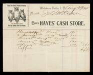 Account statement of Mrs. J. L. McCorkle with Hayes' Cash Store