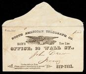 "Envelope labeled ""North American Telegraph Co."" addressed to John Drew"