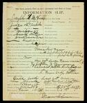 Information slip for Joseph L. McCorkle by Dean Coleman, salesman