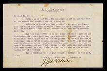 A letter of thanks from J. J. McAlester, McAlester, I.T. regarding his election