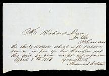 Note from Susannah McIntosh to Richard Drew regarding money due to her