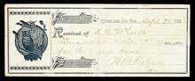 Receipt of D. W. McCorkle for ten dollars from W. R. Robinson