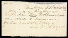 Receipt of Emma McCorkle from W. M. Rogers for ten dollars for February house rent
