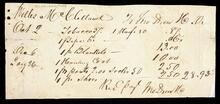 Receipted account statement to Willis McClelland for the total of $28.93 3/4