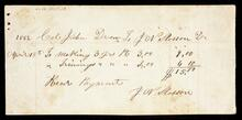 Receipted account statement to John Drew for the total of $15.00