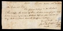 Note requesting Edward Fry to pay Mr. Richard Radcliffe
