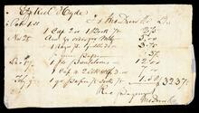 Receipted account statement to Ezekiel Hyde for the total of $32.37
