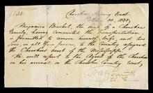 Passport for Benjamin Bracket and his family to travel independently from Cherokee Agency East to Cherokee Agency West