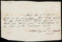 Promissory note from Manley per Smith for $50.00 to J. M. Reese and Tom Tiylon for fees regarding representation of his suit in supreme court