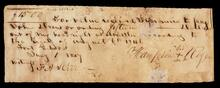 Promissory note payable to John Drew out of headrights as an Old Settler under the Treaty of 1846