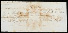 Fragment promissory note instructing payment to John Drew