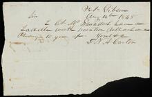 Note from G. N. A. Castes regarding a saddle worth $17. given to W. Saunders