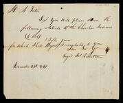 Order by James Robertson to A. Foster for the delivery of a rifle to Cherokee Indians