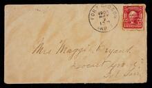 Envelope addressed to Mrs. Maggie Bryant in Locust Grove