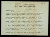 Subscription offer from Chieftain Publishing Co. in Vinita, Oklahoma