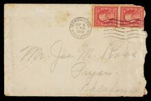 Envelope addressed to Joe M Ross in Pryor, Oklahoma postmarked from Des Moines, Iowa, Dodge Branch