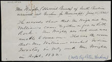 Note regarding 1832 move of Mrs. Wright (Harriet Bunce) and Mrs. Williams to Indian Territory