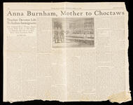 "Newspaper article ""Anna Burnham, Mother to Choctaws"""