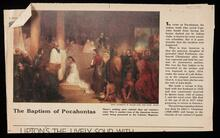 """Sunday Times"" newspaper article with photo of ""The Baptism of Pocahontas"" painting by John C. Chapman"