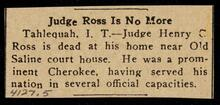 Newspaper clipping reporting death of Judge Henry C. Ross in Tahlequah