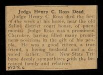 New State Tribune newspaper clipping of death of Judge Henry C. Ross