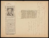 """Two newspaper clippings from the """"New York Times"""" showing a photo of the new Paul Revere stamp going on sale"""