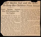 Newspaper clipping about mother keeping children from school