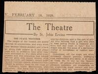 "Newspaper article by theatre critic St. John Ervine entitled ""The Stage Minister"""