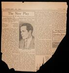 """The World newspaper clipping of theatre critic St. John Ervine's review of the play, """"Playing With Love"""" with photo of Lewis Leverett"""