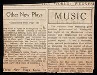 Newspaper article reviewing music performances
