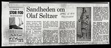 """Photocopy of the newspaper article """"Sandheden on Olaf Seltzer"""""""
