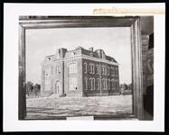 Photograph of a painting of the Choctaw Council House in Tuskahoma