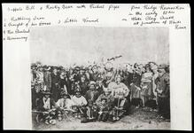 Buffalo Bill and Rocky Bear holding tribal pipe at Pine Ridge Reservation, with Rattling Iron, Freight of his Horse, Little Wound, and Rev. Cleveland