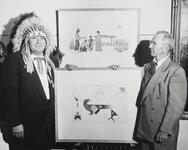 Blue Eagle and Thomas Gilcrease with artwork