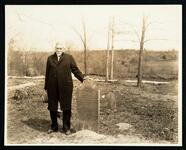 Robert Ross at New Echota, Georgia, standing next the the grave of Harriet Ruggles Boudinot