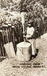 Cherokee Woman Making Corn Meal