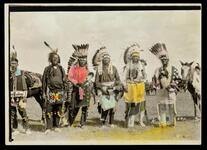 Unidentified Native American group in headdresses