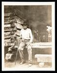 Sequoyah's log cabin, with Robert Blair, owner