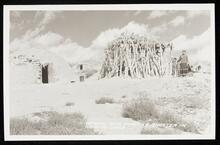Hogan and summer shelter in Navajo land