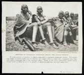 "Magazine photo of five Masai women with caption ""Arbiters of Feminine Fashions among the Masai Women"""