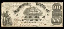 Confederate States of America twenty dollar bill