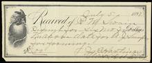 Receipt issued from J. Hastings Clerk for Delaware District Cherokee Nation to R. M. Swain