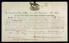 Appointment of D. D. Hitchcock as Assistant Surgeon of the Second Indian Regiment of Home Guards at Bentonville, Arkansas signed by Major M. B. C. Wright