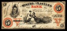 A bank note for $5.00 from the Miners and Planters Bank of Murphy, North Carolina