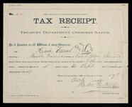 Tax receipt for Hart, Vann & Company, family grocery store in Fort Gibson, C.N.