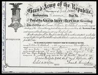 Photocopy of William M. Cleveland's membership certificate for the Grand Army of the Republic
