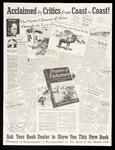 "Poster advertising Leigh's book ""Frontiers Of Enchantment"", showing favorable newspaper reviews and images on the recto and verso"