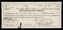 Promissory note for the sum of eight hundred dollars signed by Lucy Silk, Walter Rogers, Charley Ratt